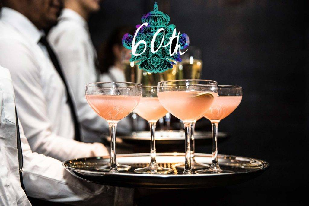 Cocktails being served at a 60th Birthday party celebration