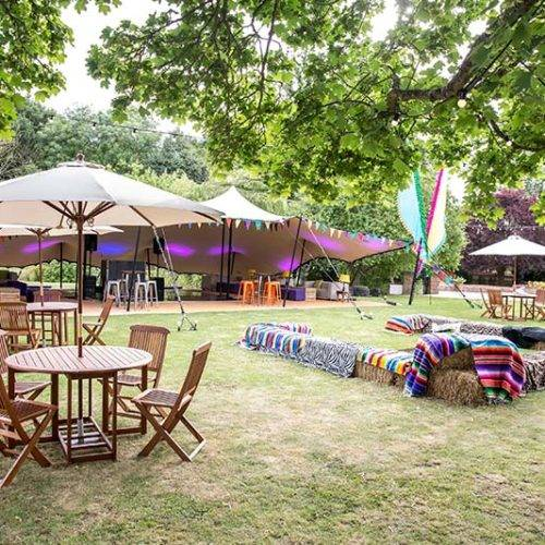 Festival themed party marquee set up day