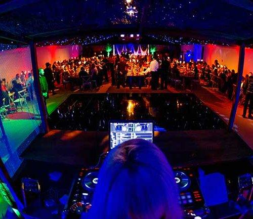 View of dance floor from DJ booth