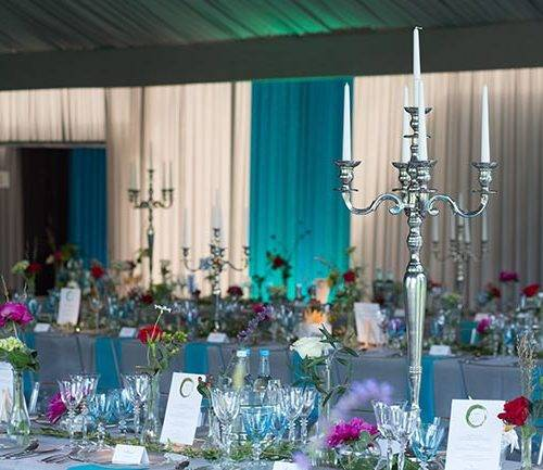 Candelabras on table settings