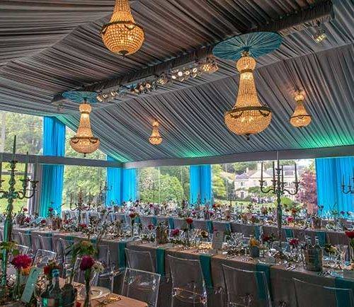 Chandeliers and table settings