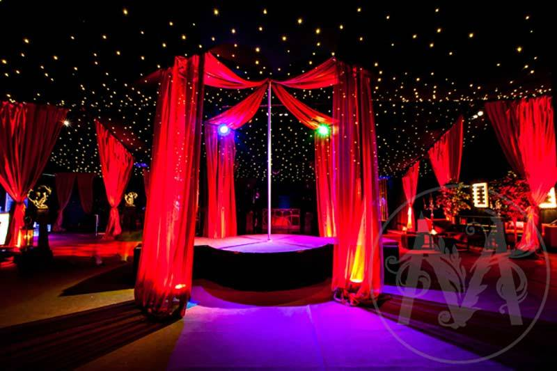 Interior of a Christmas Party with draping and lighting