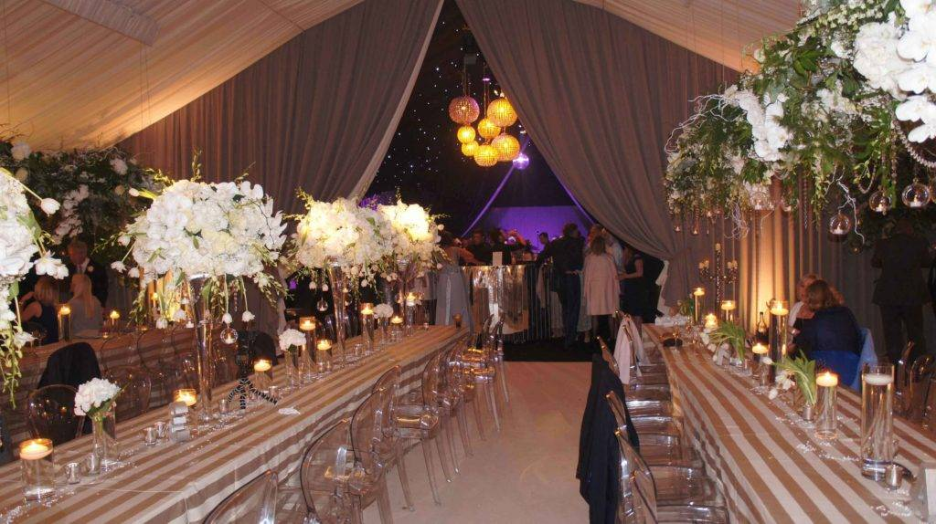 Styled wedding marquee with hidden nightclub reveal